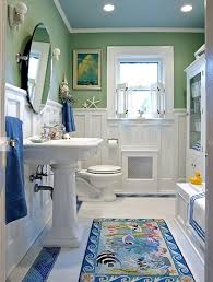 White And Green Bathroom - coastal bathroom in green white and blue interiors by color