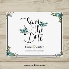 wedding card with watercolor leaves vector free
