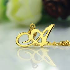 custom gold necklace personalized letter necklace 18k gold plated