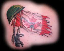 famous army guns and helmet design with famous canadian flag
