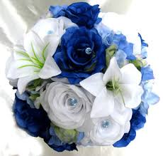 blue lilies royal blue white roses and dreams