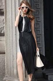black white stripe front zipper side slit 2pc chiffon dress