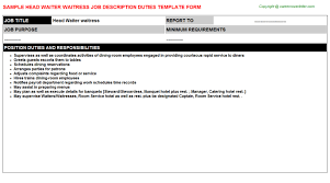 Waitress Responsibilities Resume Samples by Sample Waitress Resume Waiters Job Description Duties Of A