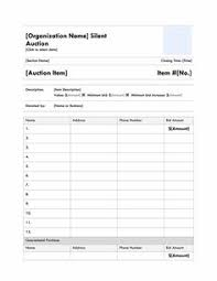 Bid Sheet Template Free Printable Silent Auction Template Silent Auction Bid Sheet