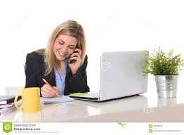 Business Computer Desk Happy Caucasian Blond Business Working Talking On Mobile