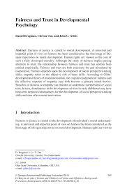 fairness and trust in developmental psychology springer