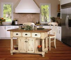 white rustic kitchen island design with wooden floor for charming