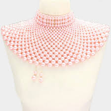 choker necklace pink images Pink pearl armor choker necklace earring set from letisha 39 s jpg