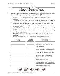 all worksheets charlie and the chocolate factory activities