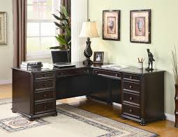 Letter L Wooden Desk Interesting Sectional Modular Desks Home Office Which Are Made From Dark Brown Hardwood Material And Has Two Wall Painting And Corner Desk Lamp Jpg