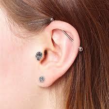 skull stud earrings bodyj4you 2pcs tragus piercing cz skull stud earring set