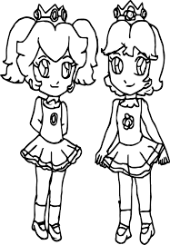 peach and daisy children coloring page wecoloringpage