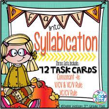 cv v vc syllabication task card bundle vc cv v cv vc v c le tpt