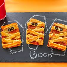 Halloween Pizza Party Ideas Mummy Pizza Puffs Puff Pastry
