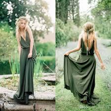green bridesmaid dresses bohemian olive green chiffon country bridesmaid dresses 2016 new