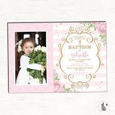 baptism invitation pink and gold floral christening