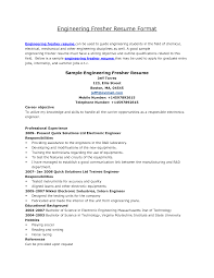 Mba Sample Resume For Freshers Finance by Standard Resume Format For It Engineers Resume For Your Job