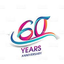 60 years anniversary 60 years anniversary celebration logotype blue and colored