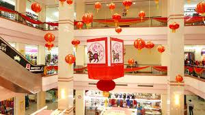 new year celebration decoration in mall atrium hanging