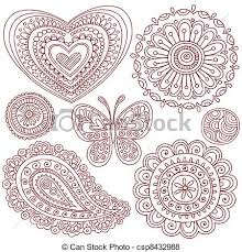 henna doodles design elements set henna mehndi tattoo vector