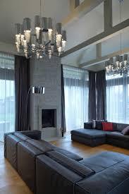 living room basement living room with dark grey sofa and indoor