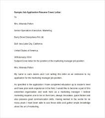 Sample Job Application Resume by Sample Resume Cover Letter Template 7 Free Documents In Pdf Word