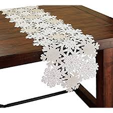 54 inch table runner amazon com xia home fashions shimmer snowflake embroidered cutwork
