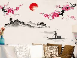 compare prices on wallpapers wallsticker online shopping buy low 120 150cm diy chinese style red plum flower vintage poster wall sticker tree stickers wallpaper