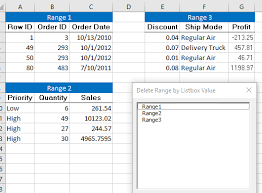 vba clear range selected in excel listbox and delete range name