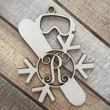 monogram snowboarding ornament