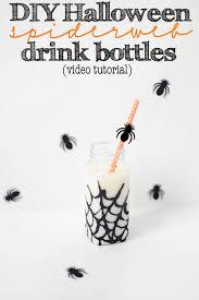 diy halloween glitter spiderweb party drink bottles video tutorial