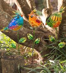 colorful glass bird garden stakes wind weather