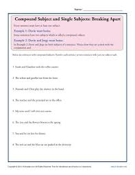 collection of solutions compound subject and predicate worksheets