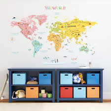 world map wall stickers colourful world map nursery kids wall stickers