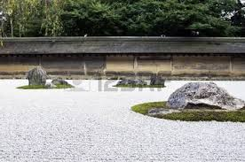 zen rock garden in ryoanji temple in a garden fifteen stones