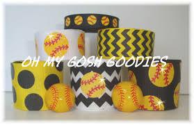 softball ribbon yellow softball softball ribbon softball bow glitter ribbon