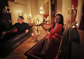two canadians spend halloween trying out coffins at dracula u0027s