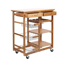 kitchen islands with wine rack rolling bamboo kitchen cart island trolley cabinet w wine rack