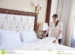 Bed Making Chambermaid Woman At Hotel Service Stock Photo Image 51979533