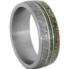 meteorite mens wedding band meteorite ring with dinosaur bone and green enamel in titanium