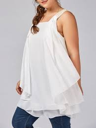 plus size beaded ruffle layered chiffon flowy tank top in white