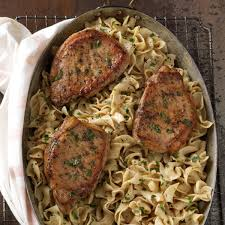 pork chops with creamy mustard noodles recipe taste of home