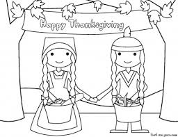 happy thanksgiving and pilgrims coloring page printable