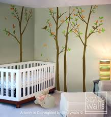 tree wall decal forest trees wall decal with birds by styleywalls