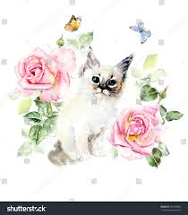 Color Painting by Kitten Roses Butterflies Water Color Painting Stock Illustration