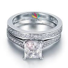 Promise Engagement And Wedding Ring Set by 1 5ct Princess Cut Created Diamond Solid 925 Sterling Silver 2 Pc