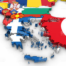 Map Of Balkans 3d Map Of The Balkans With National Flags On White Background 3d