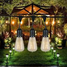 Patio String Lighting by 48 Foot S14 Edison Outdoor String Lights Suspended Socket String