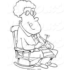 vector of a cartoon granny knitting in a rocking chair coloring