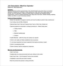 machine operator job description templates 11 free sample